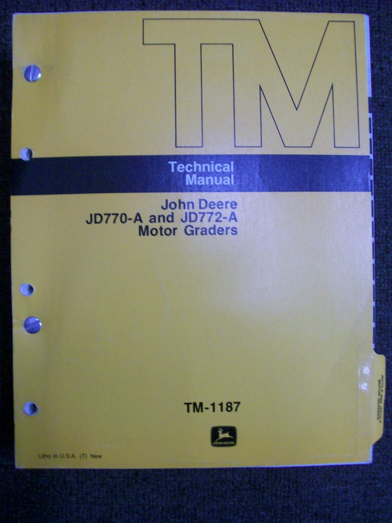JOHN DEERE JD770-A 772-A MOTOR GRADER FACTORY WORKSHOP MANUAL