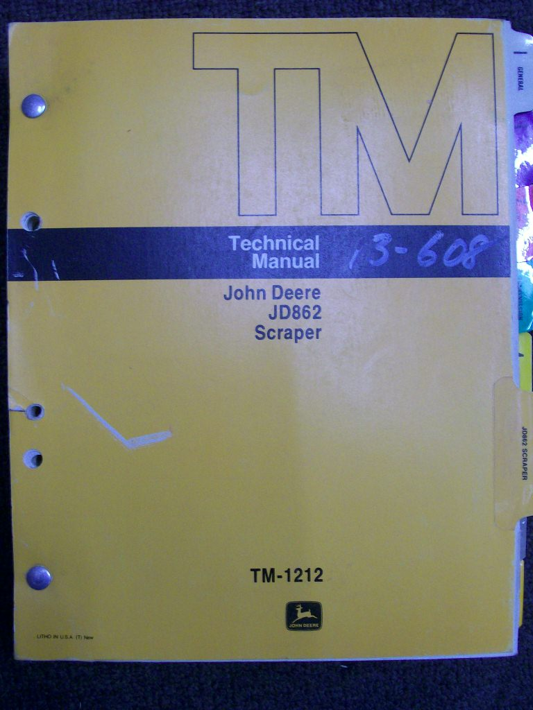 JOHN DEERE JD862 SCRAPER FACTORY WORKSHOP MANUAL