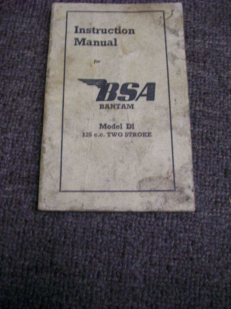 BSA BANTAM 125 D1 1952 SMALL OWNERS INSTRUCTION MANUAL