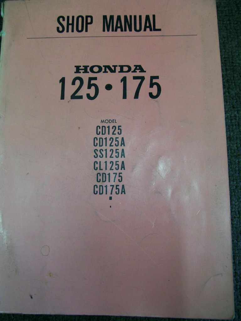 HONDA CD 125 175 CL 125  SS125 REPAIR MANUAL 1967 1968 ON