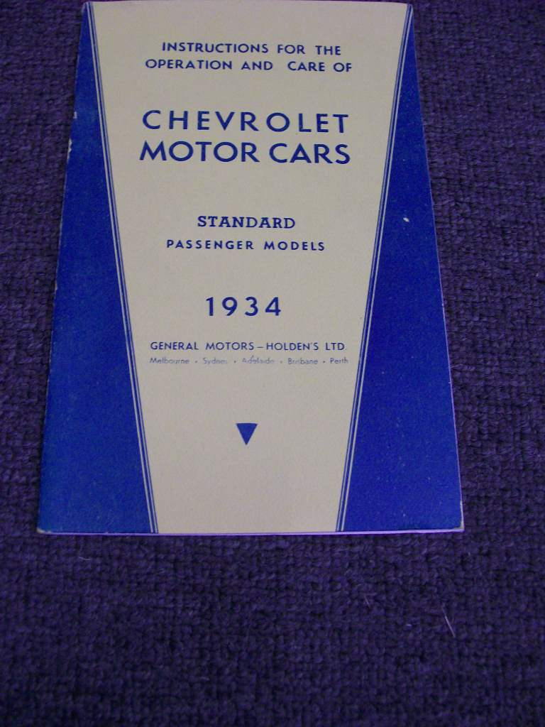 CHEVROLET 1934 1935 DC STANDARD AUSTRALIAN OWNERS MANUAL