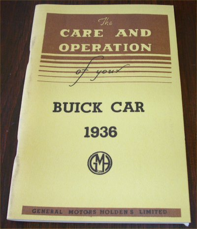 BUICK 1936 AUSTRALIAN OWNERS MANUAL SERIES 40 60 8