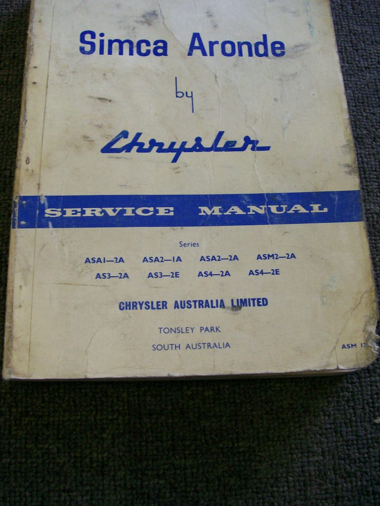 SIMCA ARONDE AUSTRALIAN CHRYSLER REPAIR  MANUAL