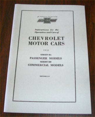 CHEVROLET 1932 BA BB OWNERS MANUAL