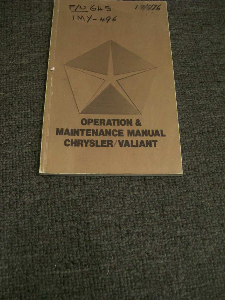 VALIANT VK CK CHRYSLER 265 318 360 CHARGER OWNER MANUAL