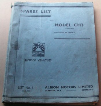 ALBION CHIEFTAIN CH3 PARTS BOOK JUNE 1958 EDITION