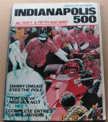 INDIANAPOLIS 1978 RACE PROGRAM SOLD OUT