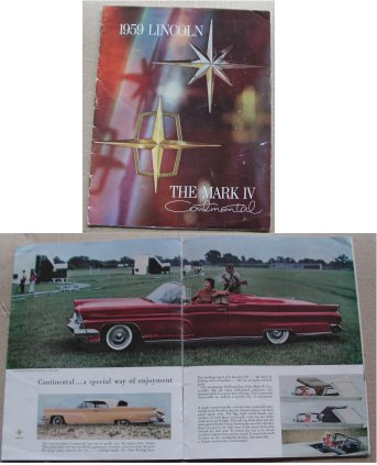 LINCOLN CONTINENTAL MK IV 1959 SALES BROCHURE