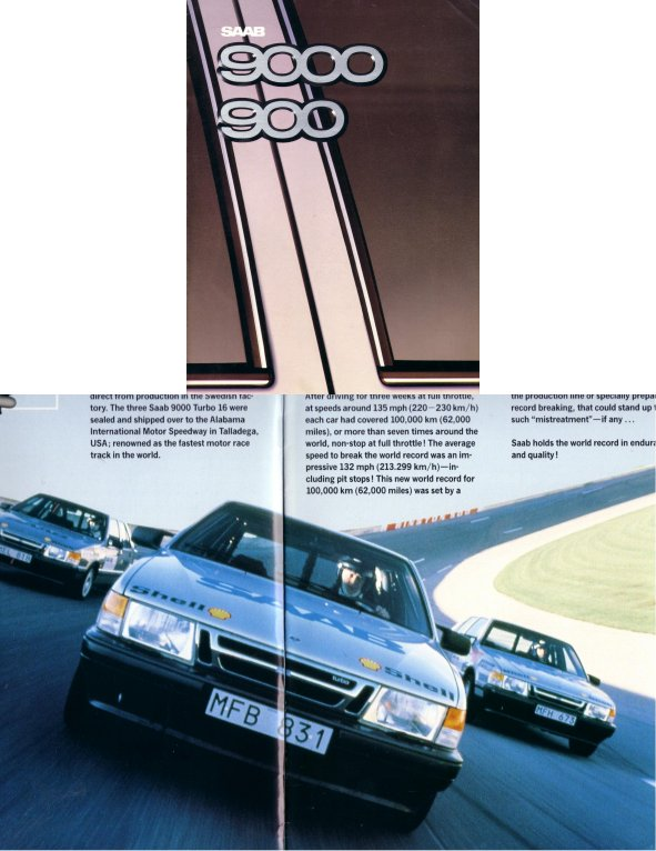 SAAB 900 9000 1987 SALES BROCHURE INC TURBO