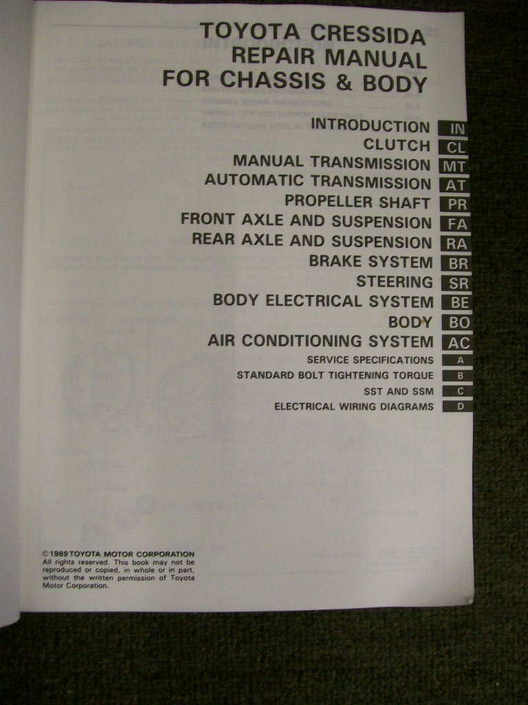 Cressida Chassis Body Manual 1984 To 1988 Mx73 Rx70 Lx 71 Gx 2275 1989 Toyota Wiring Diagram