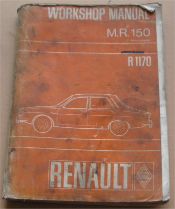 RENAULT R12 1969-ON R1170 WORKSHOP MANUAL