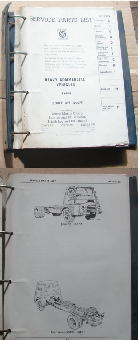 LEYLAND FF TRUCK PARTS BOOK 900FF 1100FF 1965 ON