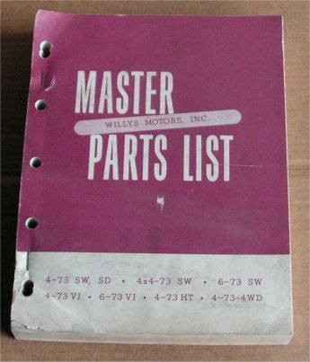 WILLYS JEEP 1950-51 4-73 6-73 4-73 PARTS BOOK