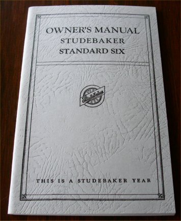 STUDEBAKER 1925 1926 STANDARD SIX OWNERS MANUAL