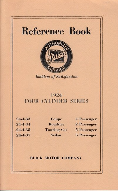 BUICK 1924 4 CYL REPRINT OWNERS REFERENCE BOOK MANUAL