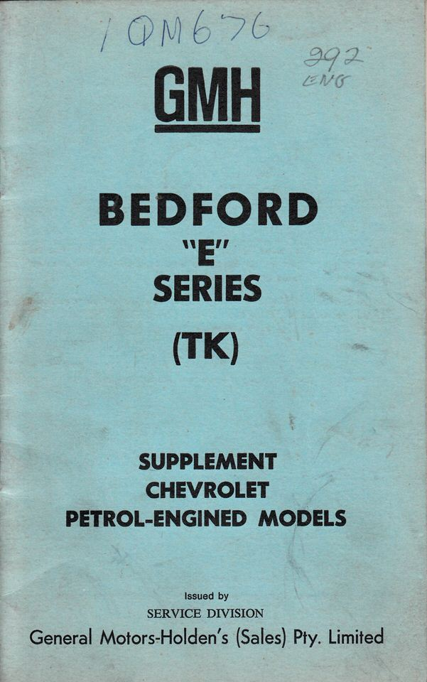 HOLDEN BEDFORD TK E SERIES CHEVROLET AUSSIE OWNERS MANUAL SUPP