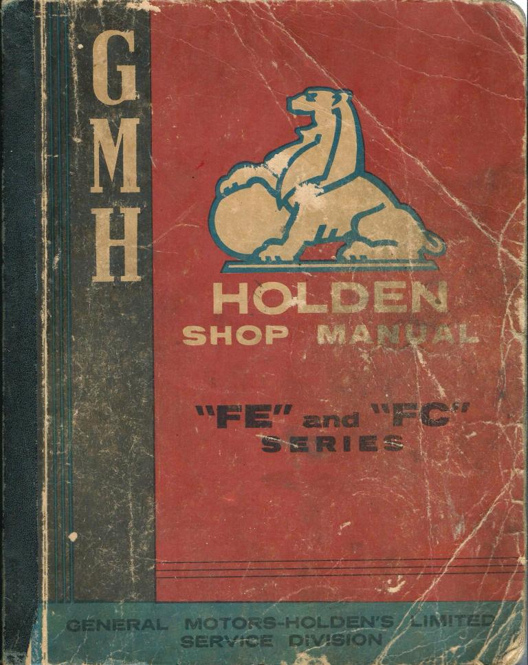 HOLDEN FE FC 1957 TO 1959 GENUINE ORIG REPAIR SHOP MANUAL