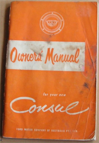 FORD CONSUL 1958 OWNERS MANUAL