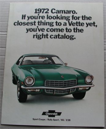 CHEVROLET CAMARO 1972 SALES BROCHURE Z28
