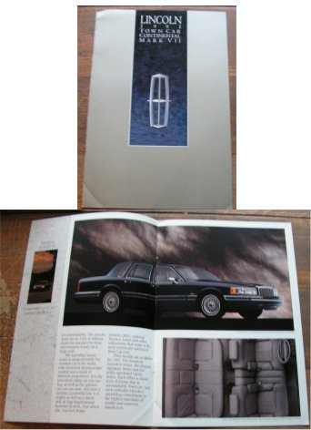 LINCOLN 1991 BROCHURE CONTINENTAL MK VIII TOWN CAR