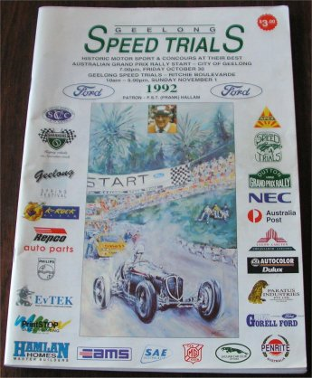 GEELONG SPEED TRIALS 1992 PROGRAM
