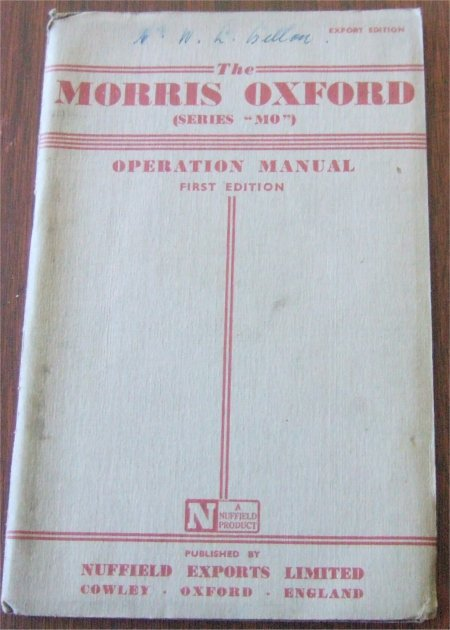 MORRIS OXFORD 1954 1955 SERIES II OWNERS MANUAL