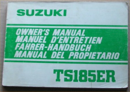 SUZUKI TS185ER OWNERS MANUAL