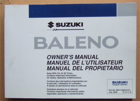 SUZUKI BALENO 2000 OWNERS MANUAL