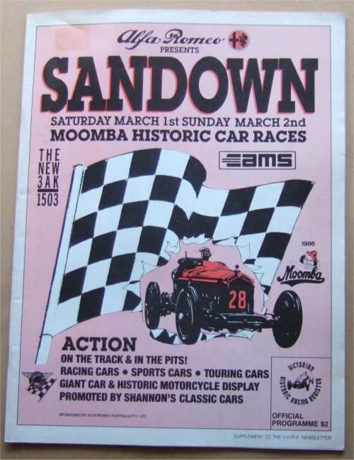 SANDOWN 1986 MARCH HISTORIC RACE PROGRAM