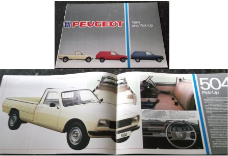 PEUGEOT 305 VAN & 504 PICK UP UTE SALES BROCHURE