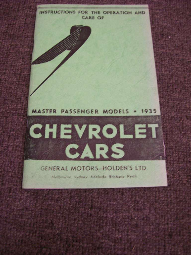 CHEVROLET 1935 MASTER EA SERIES AUSTRALIAN OWNERS MANUAL