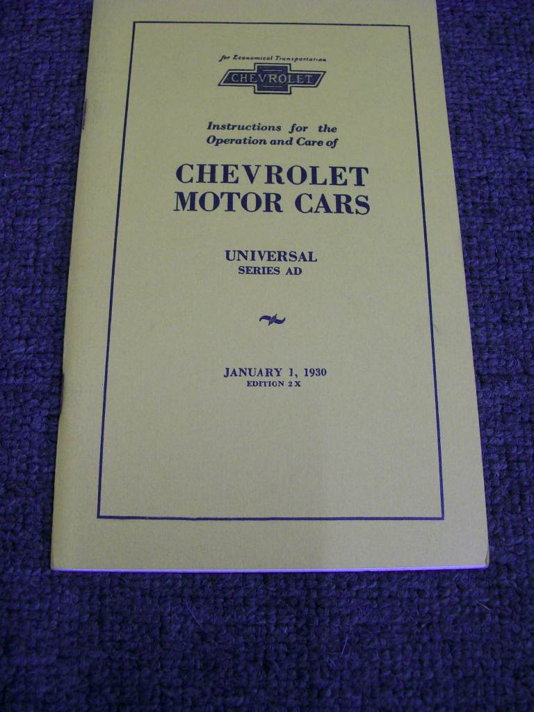 CHEVROLET 1930 AD UNIVERSAL REPRINT OWNERS MANUAL