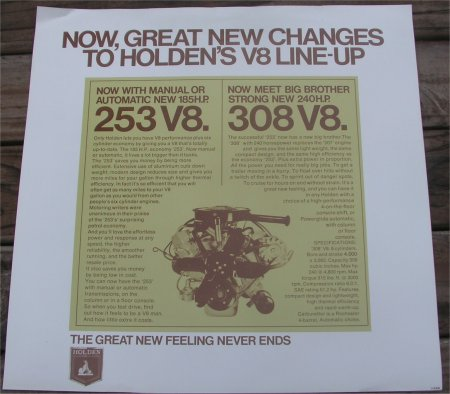 HOLDEN 1969 HT 253 308 ENGINE RELEASE SALES BROCHURE