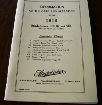 STUDEBAKER 1916 SF ED OWNERS MANUAL