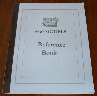 BUICK 1930 REPRINT REFERENCE BOOK