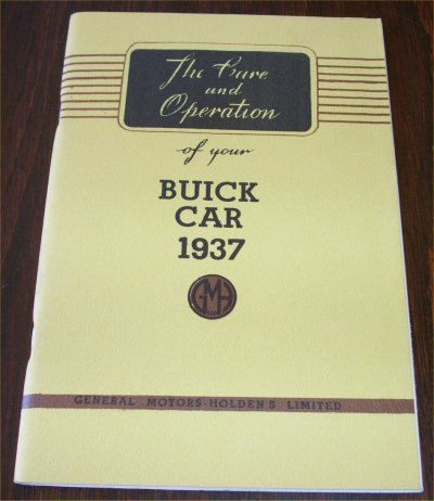 BUICK 1937 AUSTRALIAN OWNERS MANUAL SERIES 40 60 8