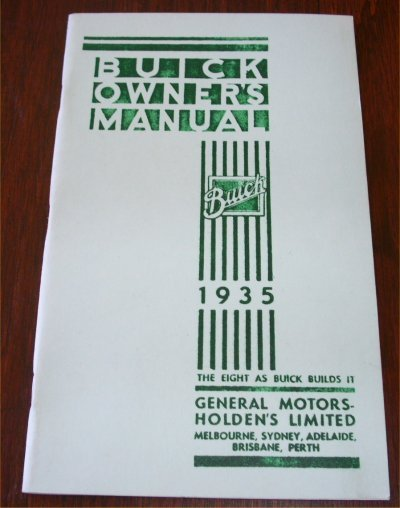 BUICK 1935 AUSTRALIAN OWNERS MANUAL SERIES 40 50 9