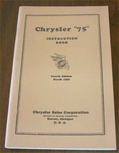 CHRYSLER 1929 75 INSTRUCTION BOOK