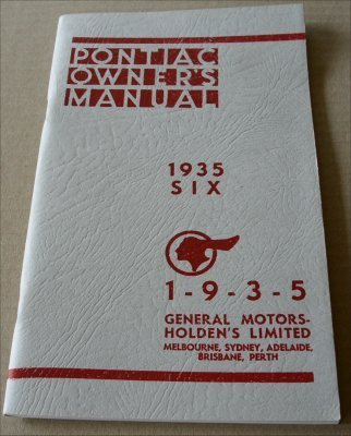 PONTIAC 1935 OWNERS MANUAL  SIX CYLINDER