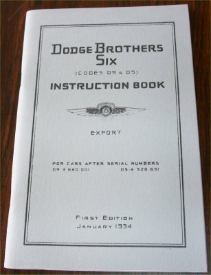 DODGE 1934 DR DS 6 CYL INSTRUCTION BOOK