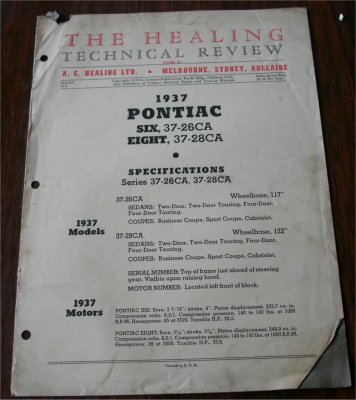 PONTIAC 1937 HEALING TECHNICAL REVIEW 6 AND 8