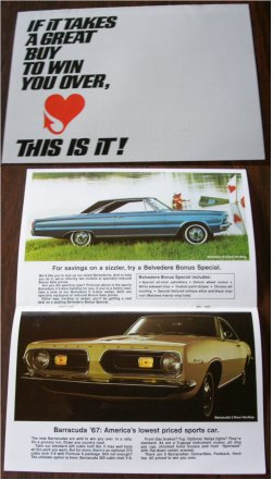 PLYMOUTH 1967 BROCHURE FURY III BARRACUDA VALIANT
