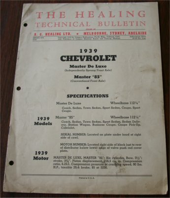 CHEVROLET 1939 HEALING TECHNICAL BULLETIN