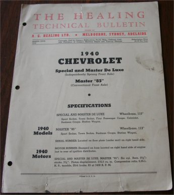 CHEVROLET 1940 HEALING TECHNICAL BULLETIN
