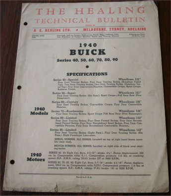 BUICK 1940 HEALING TECHNICAL BULLETIN