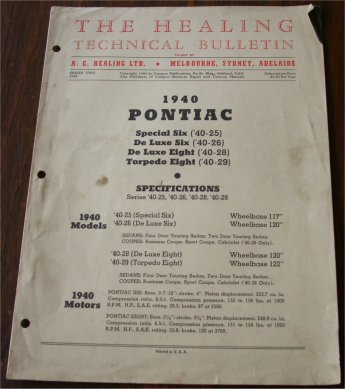 PONTIAC 1940 HEALING TECHNICAL BULLETIN