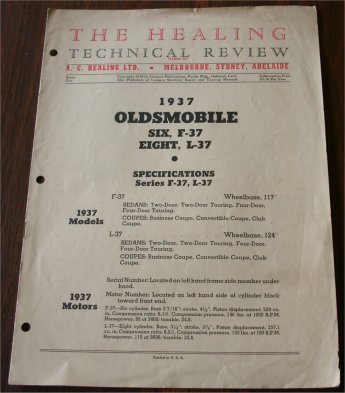 OLDSMOBILE 1937 HEALING TECHNICAL BULLETIN