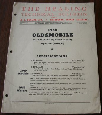 OLDSMOBILE 1940 HEALING TECHNICAL BULLETIN