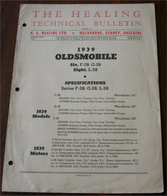 OLDSMOBILE 1939 HEALING TECHNICAL BULLETIN