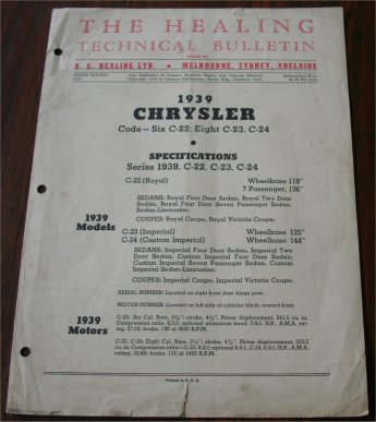 CHRYSLER 1939 HEALING TECHNICAL BULLETIN